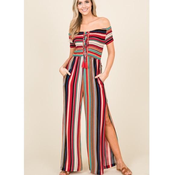 a0cee6fb2d0 Multi Color Stripe Smock Jumpsuit Split Leg